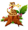 rattlesnake on tree stump vector image vector image