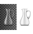 realistic glass jug with narrow neck and handle vector image