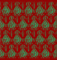 seamless ikat classic red and green pattern vector image