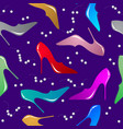 seamless pattern with female shoes and pearls vector image