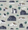 seamless pattern with residential houses vector image vector image
