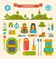 Set of Camping and Hiking Equipment vector image