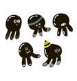 Set of cute black octopuses vector image