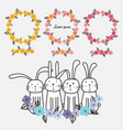 set of floral frames and cute bunny vector image vector image