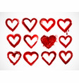 set of red grunge hearts on white background vector image