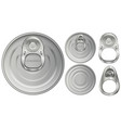 top view of aluminum cans and openers vector image