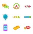 Translation icons set cartoon style vector image vector image