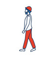 walking bearded man wearing the hat vector image vector image