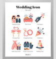 wedding icons flat pack vector image vector image