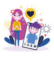 young woman and boy chatting smartphone romantic vector image