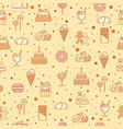 sweet seamless pattern with cupcakes candy vector image