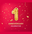 1st year anniversary celebration design template vector image vector image