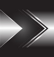 abstract grey arrow direction on silver design vector image vector image