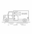 armored truck line icon vector image vector image