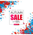 autumn 50 sale promotion card with bright leaves vector image vector image