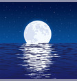 background blue sea and full moon at night vector image vector image