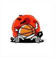 basketball halloween moon theme vector image vector image