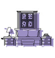 bedroom with sofa bed window in the night vector image vector image