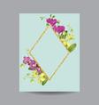 blooming spring and summer golden floral frame vector image
