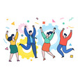 business people celebrating a victory jump vector image
