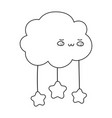 cartoon clouds stars decoration isolated icon line vector image