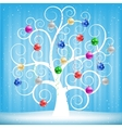 Christmas toys and tree vector image vector image