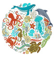 Circle set of cartoon sealife animals over white vector image vector image