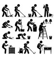 cleaner cleaning and washing house pictograph set vector image
