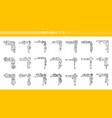 corner border fancy arabesque line icon set vector image