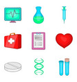 cure the tooth icons set cartoon style vector image