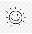 cute hand drawn smiling sun with tongue out icon i vector image vector image