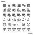 data management outline icons perfect pixel vector image vector image
