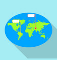 global pin map icon flat style vector image vector image