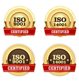 Golden medals ISO 9001 certified - quality vector image vector image