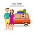 happy family of parents and girl travel by car vector image vector image