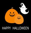 happy halloween two pumpkins and ghost spirit set vector image vector image