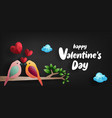 happy valentines day birds and hearts on branch vector image vector image