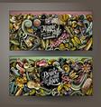 hippie hand drawn doodle banners set cartoon vector image vector image