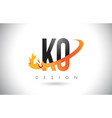 ko k o letter logo with fire flames design and vector image vector image