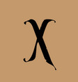 letter x in gothic style alphabet the symbol vector image vector image