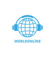 logo world globe in headphones concept work vector image