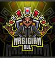 magician owl esport mascot logo vector image vector image