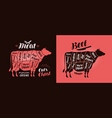 meat cut charts food butcher shop beef concept vector image vector image