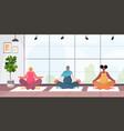 mix race pregnant women doing yoga fitness vector image