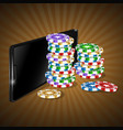 mobile phone and casino chip set vector image vector image