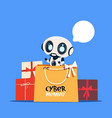 modern robot holding shopping bag with cyber vector image