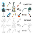 mountaineering and climbing cartoon icons in set vector image vector image