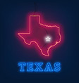 neon map state of texas on dark background vector image