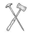 orbitoclast and hammer sketch engraving vector image vector image