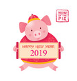 pig cartoon holding sign chinese new year 2019 vector image vector image